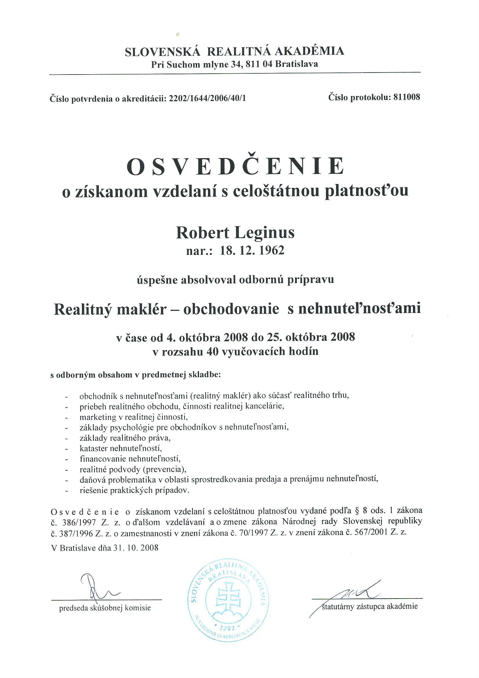 Certifikát - sprostredkovanie obchodu s nehnuteľnostami