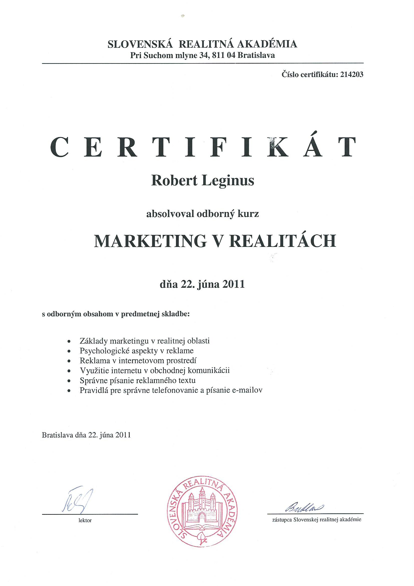 Certifikát - Marketing v realitách