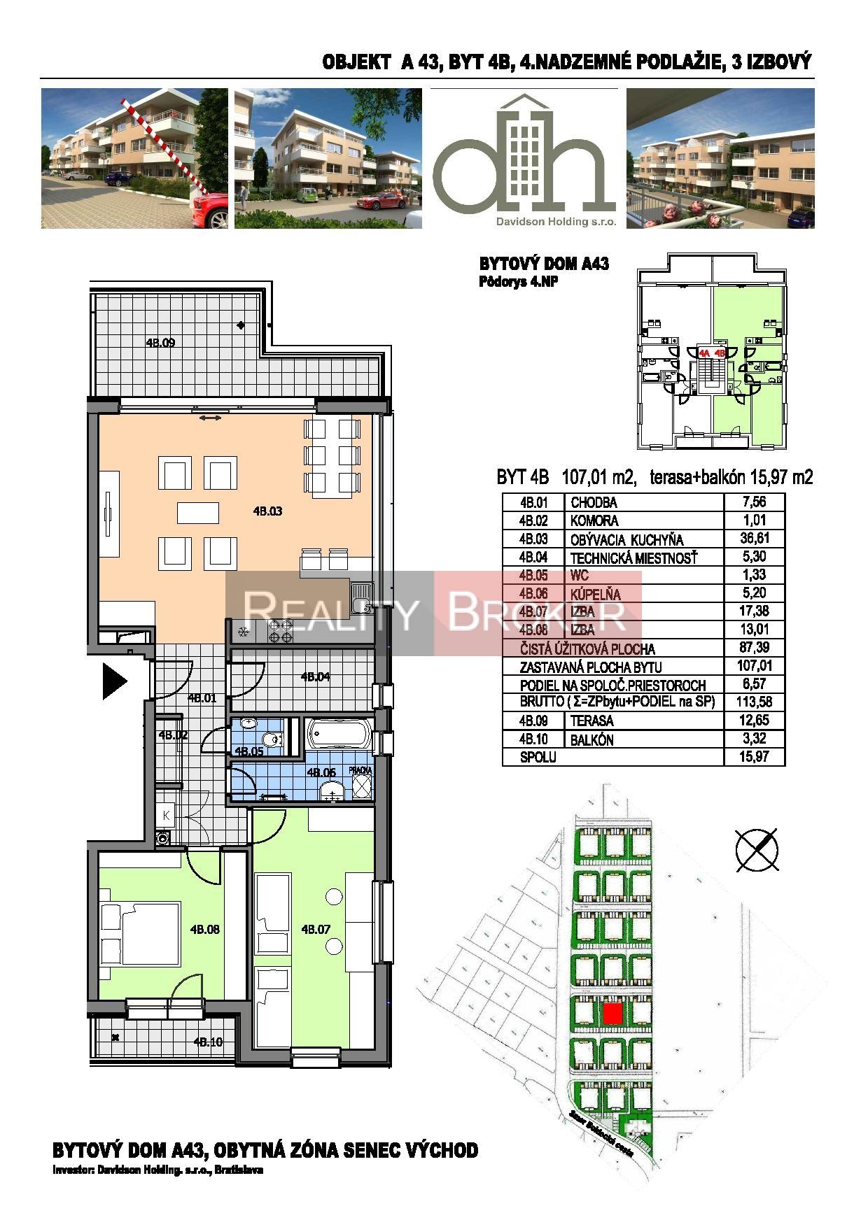 Ponúkame na predaj novostavbu 3. izb. bytu v tichej lokalite Senca s parkovacím miestom v OV