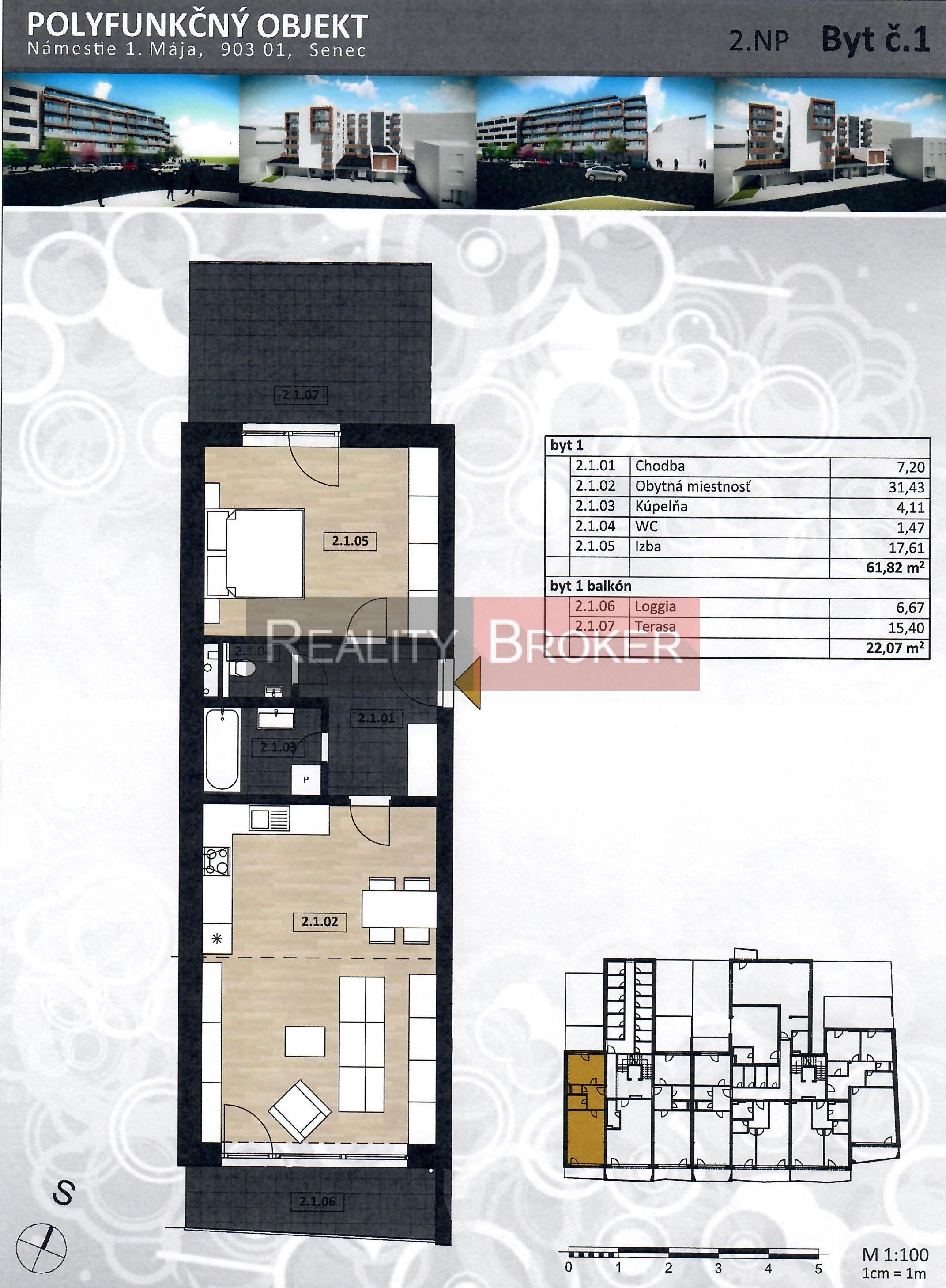 REALITY BROKER ponúka na predaj pekný 2 izb. byt s terasou a loggiou v centre mesta – NOVOSTAVBA