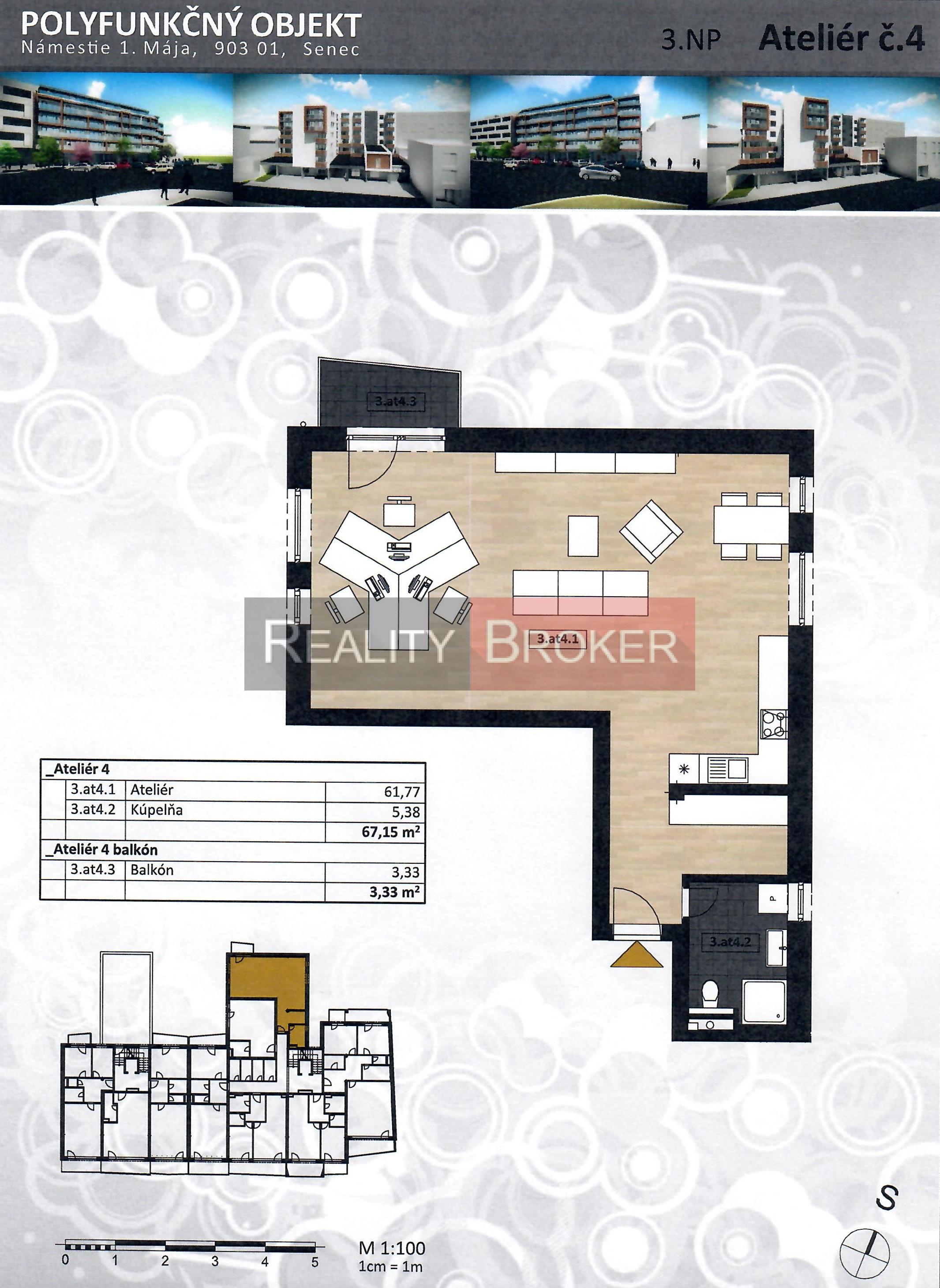 Reality Broker ponúka na predaj  veľký priestranný 1 izb. byt  – ATELIÉR s balkónom v centre mesta
