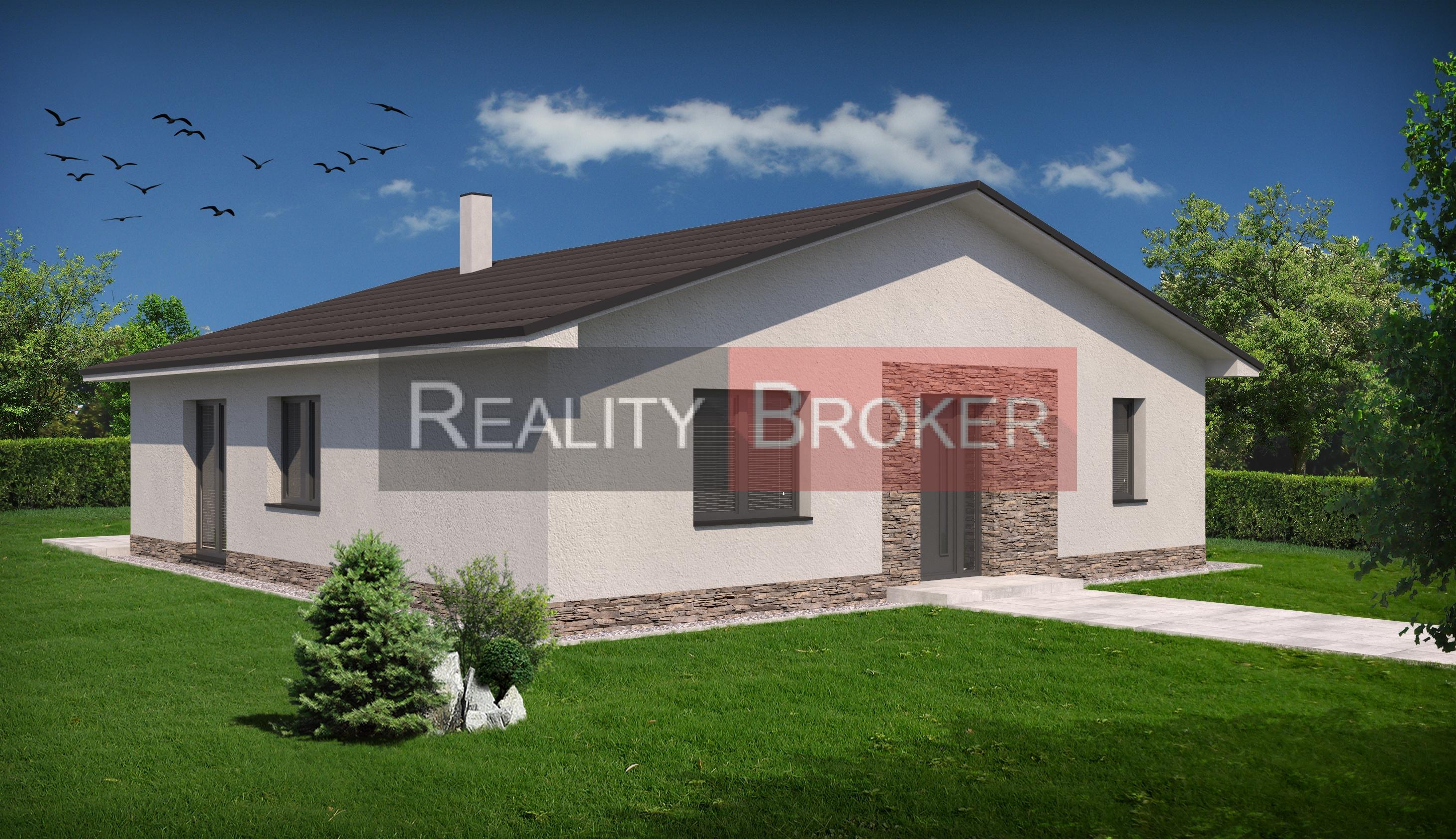 REALITY BROKER ponúka na predaj peknú novostavbu rodinného domu – bungalov v Rovinke