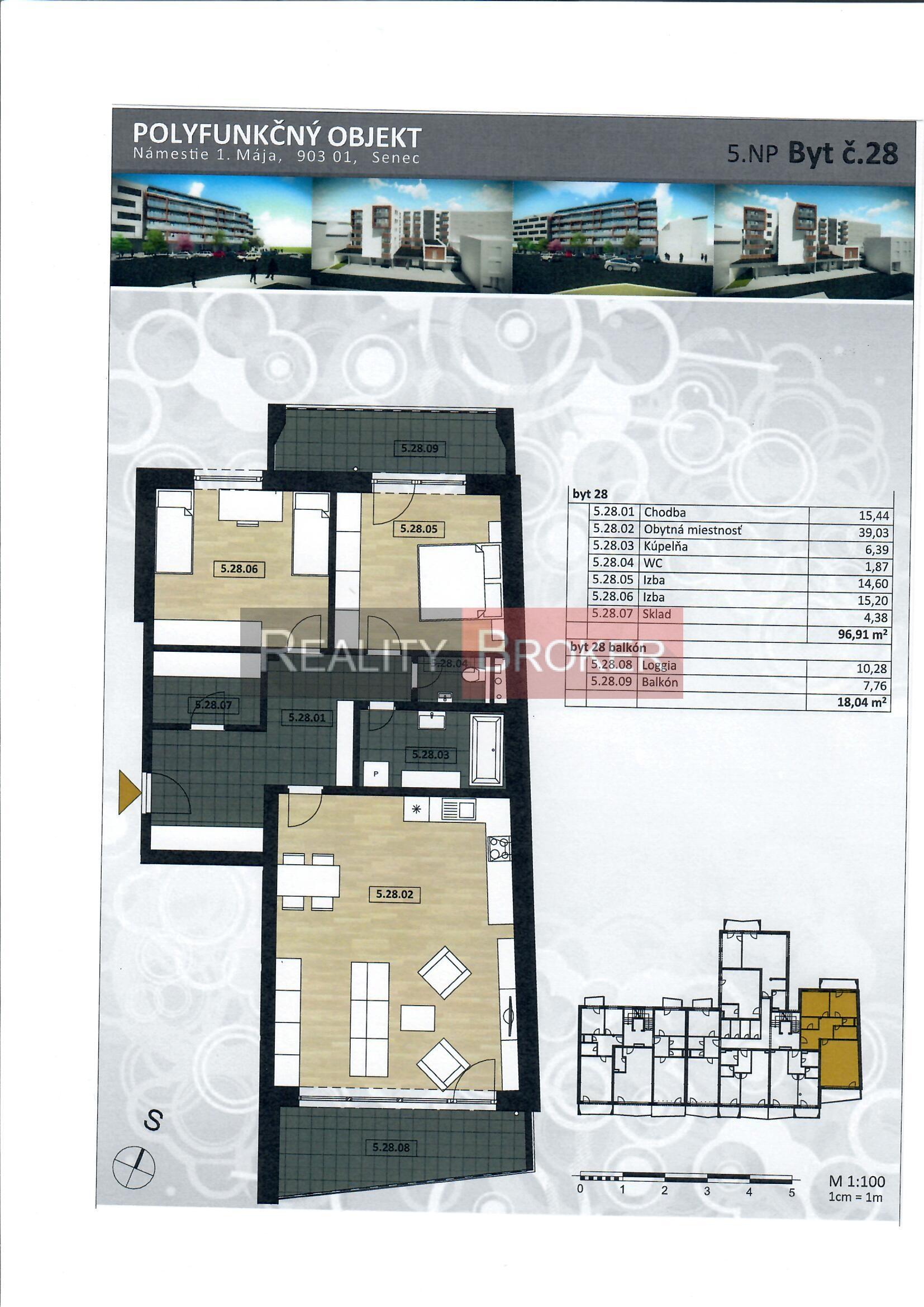Ponúkame na predaj 3 izb. byt v centre mesta s balkónom a loggiou – NOVOSTAVBA