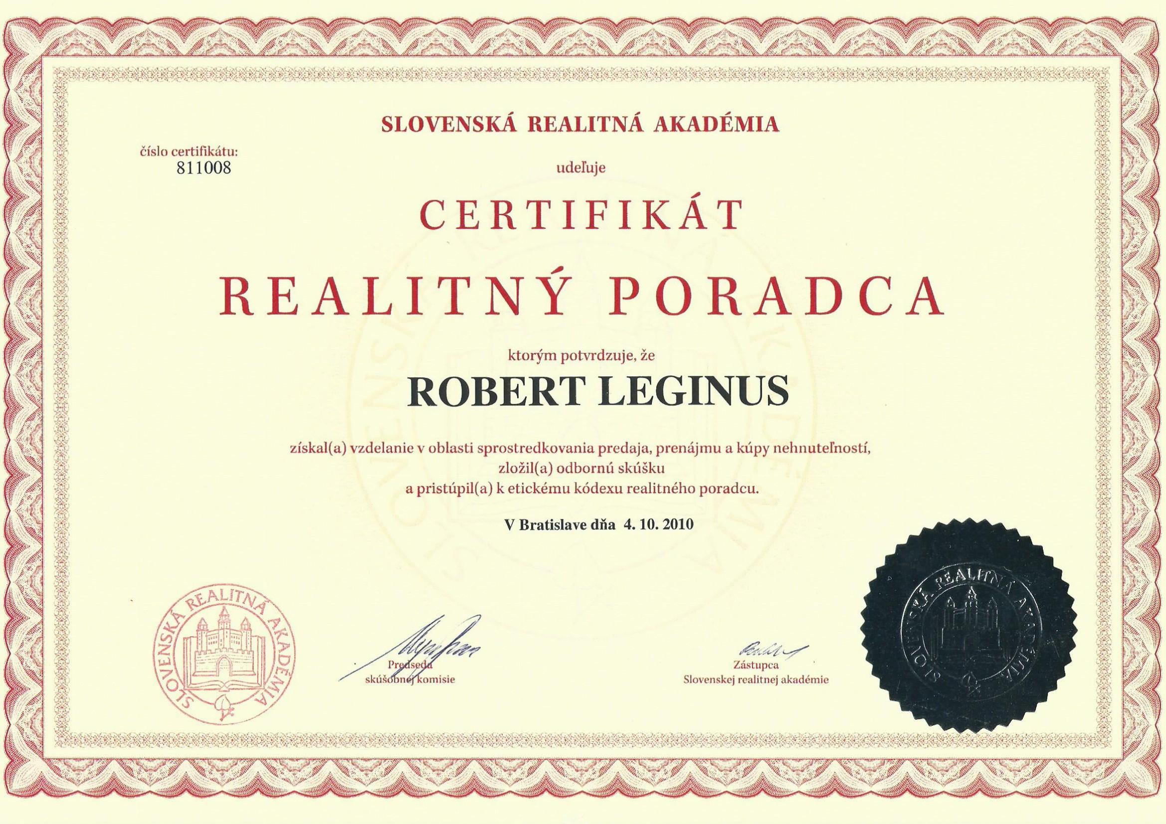 Certifikát - Realitný poradca
